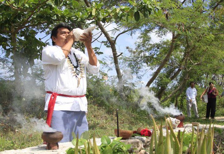 Con una ceremonia maya dedicada a la Ceiba se inauguró formalmente el Coloquio Intercultural de Medicina Tradicional Maya. (Harold Alcocer/SIPSE)
