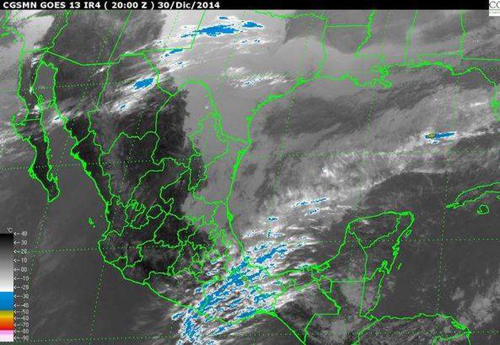 Imagen de satélite de la Conagua que muestra la interacción de los frentes fríos 23 y 24 con la masa de aire polar que los acompaña. (ww.conagua.gob.mx)