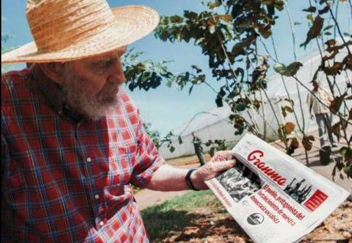 En esta imagen,  Fidel Castro está leyendo un ejemplar del periódico Granma de Cuba. (AP)