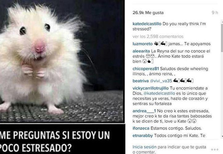 Captura de pantalla de la cuenta @katedelcastillo en la que pueden verse una reacción de la actriz, tras conocerse su relación con el narcotraficante Joaquín El Chapo Guzmán.
