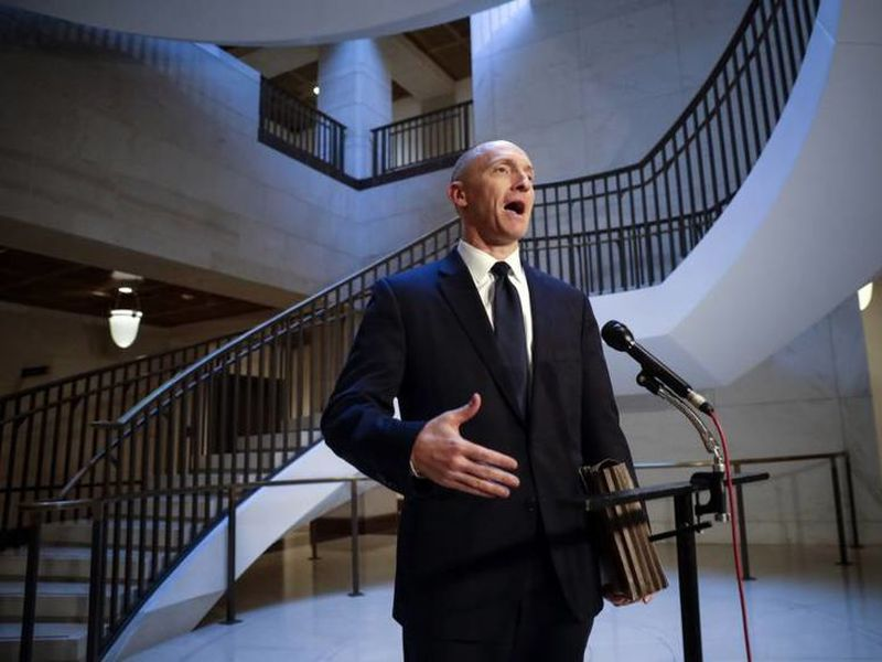 Carter Page, a foreign policy adviser to Donald Trump's 2016 presidential campaign, speaks with reporters following a day of questions from the House Intelligence Committee, on Capitol Hill in Washington.