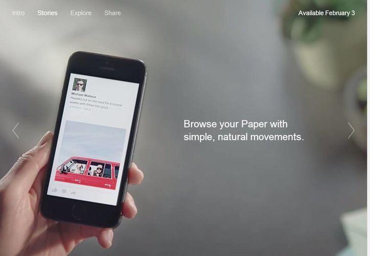 Paper, que será gratuita, estará disponible a partir del 3 de febrero en Estados Unidos, informa Facebook. (Facebook.com)