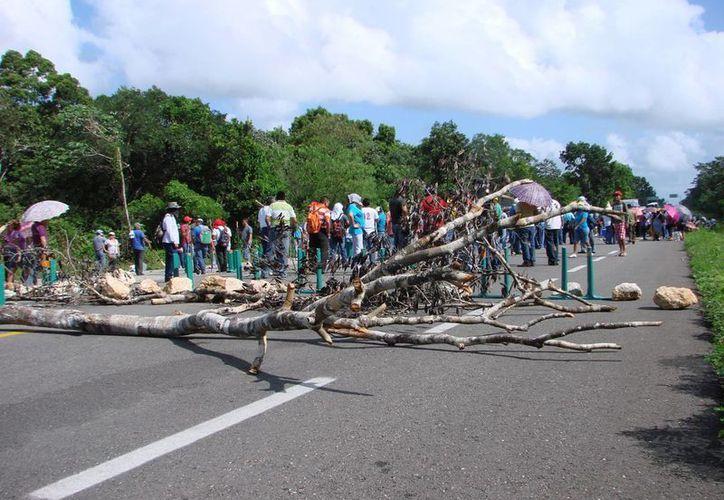 Docentes y personas encapuchadas mantienen bloqueada la vía con troncos y piedras. (Manuel Salazar/SIPSE)