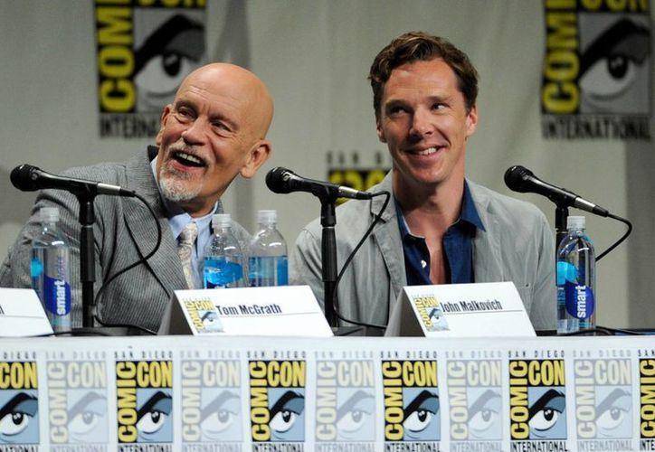John Malkovich y Benedict Cumberbatch en el panel de 'DreamWorks Animation'. (AP)