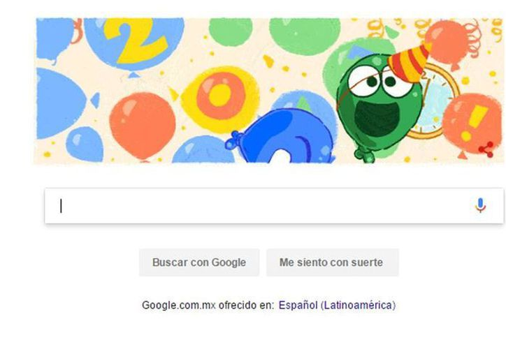 Google festeja el inicio del año con una imagen de globos que brincan; cada uno con emociones como felicidad, sorpresa, enojo y tristeza. (Captura de pantalla/Google)