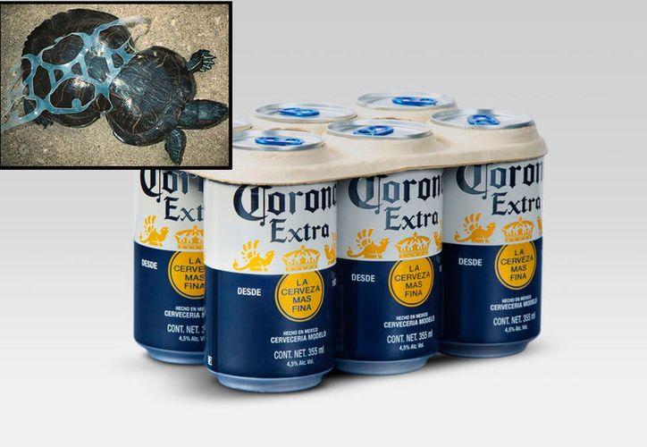 """La marca cervecera Corona retirará los anillos de plástico del """"sixpack"""", y en su lugar ahora se van a ofrecer anillos de cartón."""