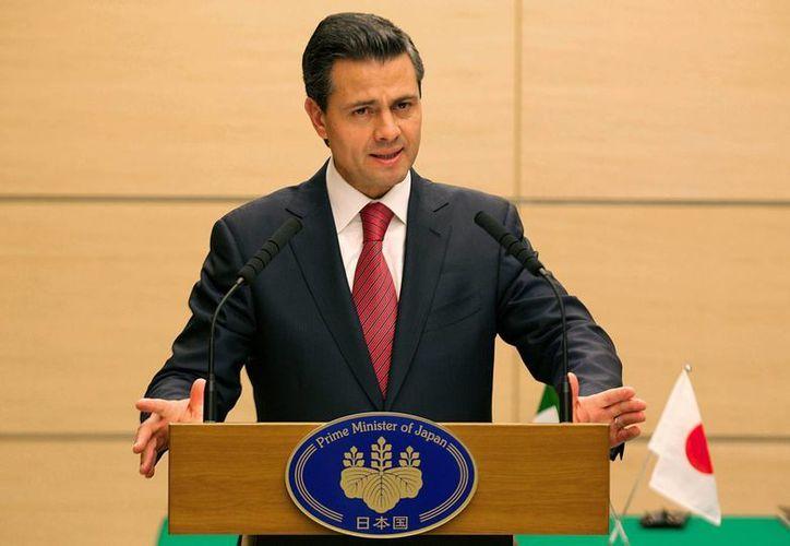 El presidente Enrique Peña Nieto sostuvo una conferencia de prensa con el primer ministro japonés, Shinzo Abe.  (Notimex)