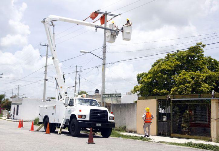La CFE acude a revisar los postes que son reportados por los vecinos como dañados. (Foto: Milenio Novedades)