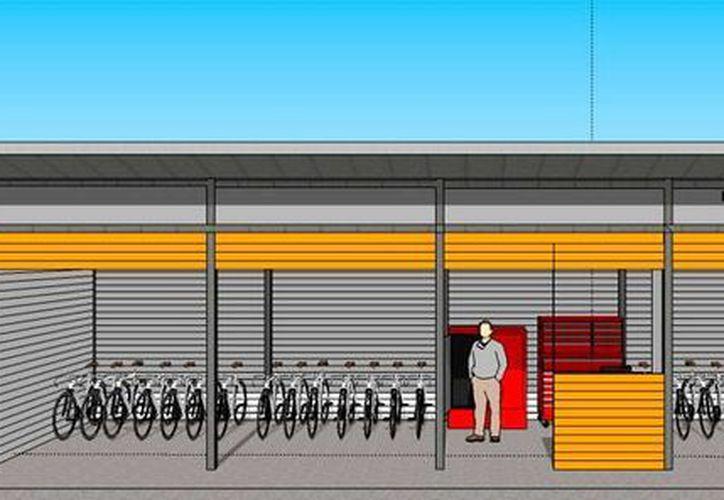 Vista de frente del proyecto arquitectónico de los módulos en los que se rentarán bicicletas, dentro del llamado Paseo Verde (Parque Lineal Metropolitano) de Mérida. (Cortesía)