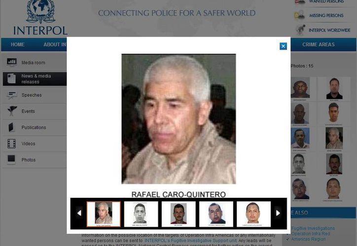 Las autoridades de los Estados Unidos ofrecen una recompensa de cinco millones de dólares por información que lleve a la captura de Rafael Caro Quintero. (interpol.int)