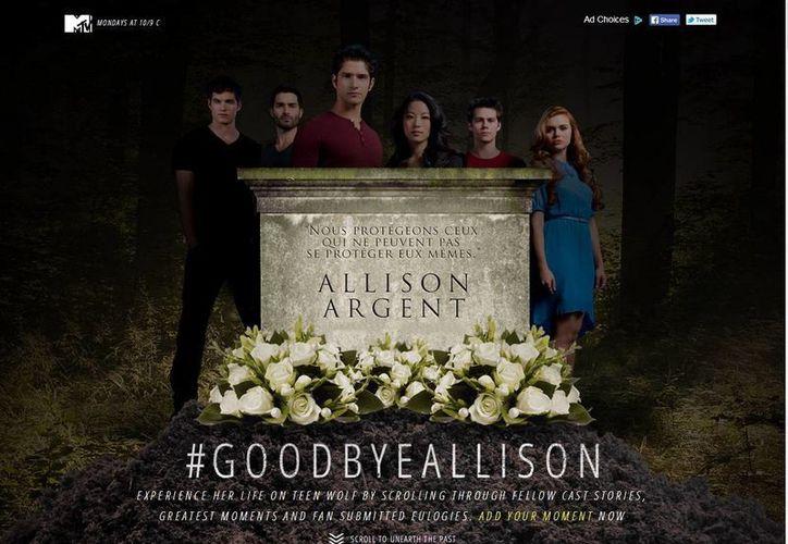 Matar a un personaje de TV no es nuevo, pero MTV tomó un camino interesante al crear una página de internet dedicada a Allison Argent, con patrocinio publicitario. (TeenWolfMemorial.com)