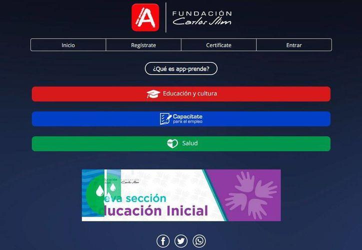 Captura de pantalla del sitio web App-prende.org, presentada el viernes 22 de julio de 2016, en Panamá, por Carlos Slim y el presidente panameño Juan Carlos Varela.
