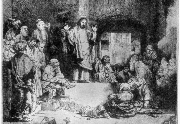 """Aguafuerte de Rembrandt: Cristo predicando (""""La petite tombe""""), 1652. (gutenberg.org)"""