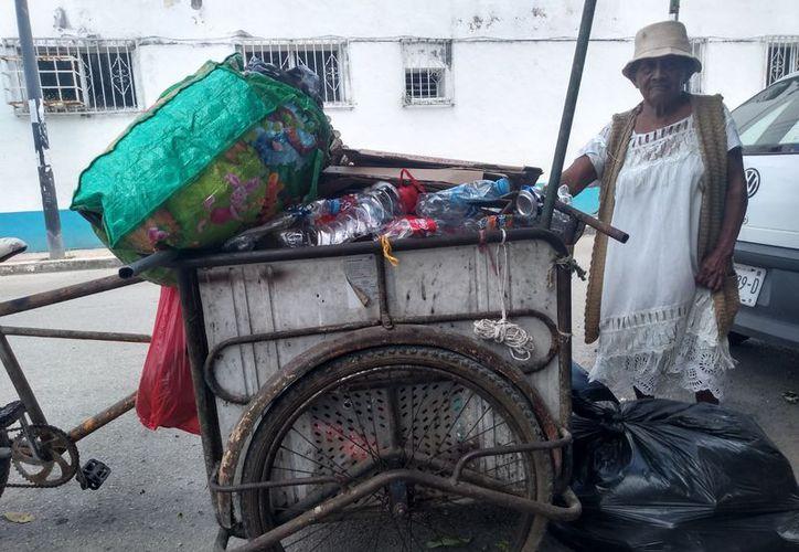 A los 81 años de edad, Guillerma Tun Tuz recorre, en un triciclo deteriorado, las calles de Felipe Carrillo Puerto en busca de material reciclable para ganarse la vida. (Jesús Caamal/SIPSE)
