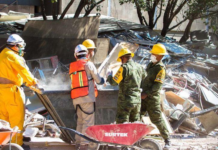 personal de Pemex y elementos del Ejército Mexicano, realizaron labores de remoción de escombro. (Notimex)