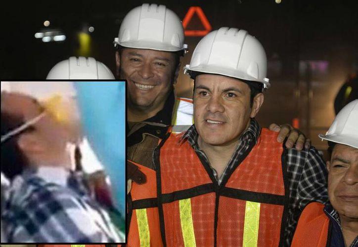 Imagen del alcalde de Cuernavaca durante el inició los trabajos de reencarpetamiento a primeras horas de este miércoles 6 de enero. En el recuadro una supuesta foto de Cuauhtémoc Blanco asesinado que circuló desde temprano en redes sociales. (cuernavaca.gob.mx y @_MrWong)