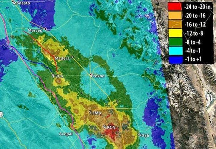Imagen de la NASA que muestra la zona del Valle Central de California, la cual registra hundimientos. (nasa.gov)