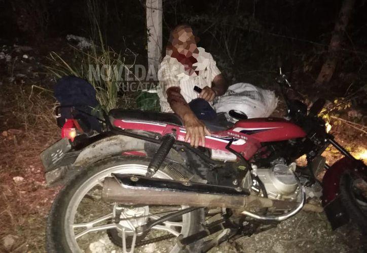 El motociclista de la tercera edad fue curado en la clínica del IMSS de Motul.