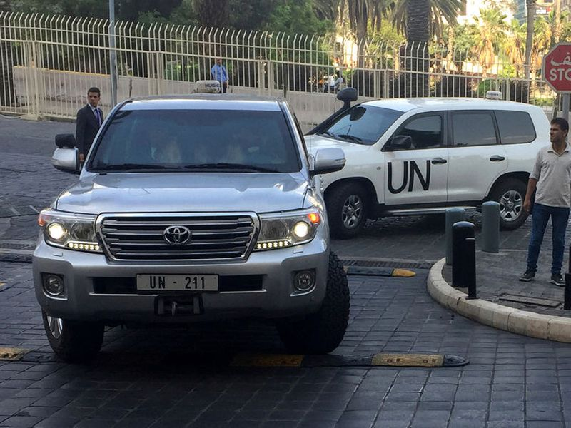 A vehicles carrying the team of the Organization for the Prohibition of Chemical Weapons (OPCW), arrived at hotel in Damascus, Syria.