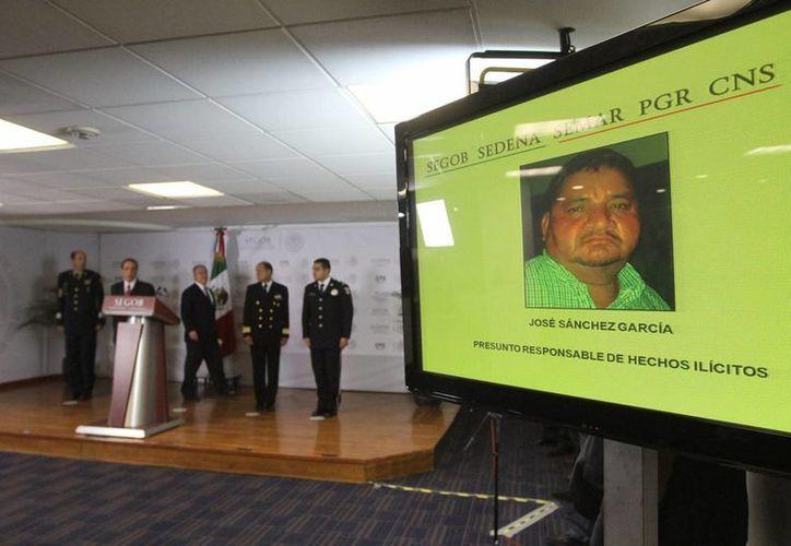 El comisionado nacional de Seguridad, Monte Alejandro Rubido García, dio a conocer este 5 de abril de 2015 la detención de José Sánchez García. (Notimex)