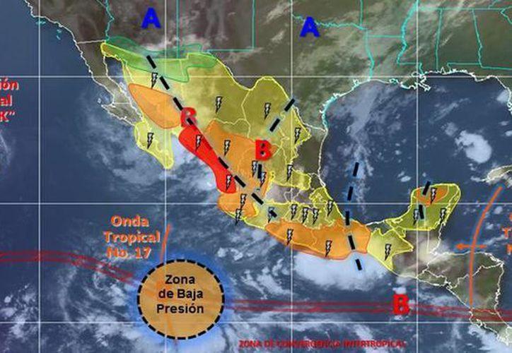 Frank se localizó a mil 535 kilómetros al oeste de Cabo San Lucas, Baja California Sur y se desplaza hacia el oeste-noroeste. (smn.cna.gob.mx)
