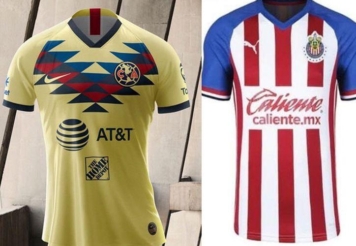 Los nuevos uniformes de Chivas y América para el próximo torneo. (especial)