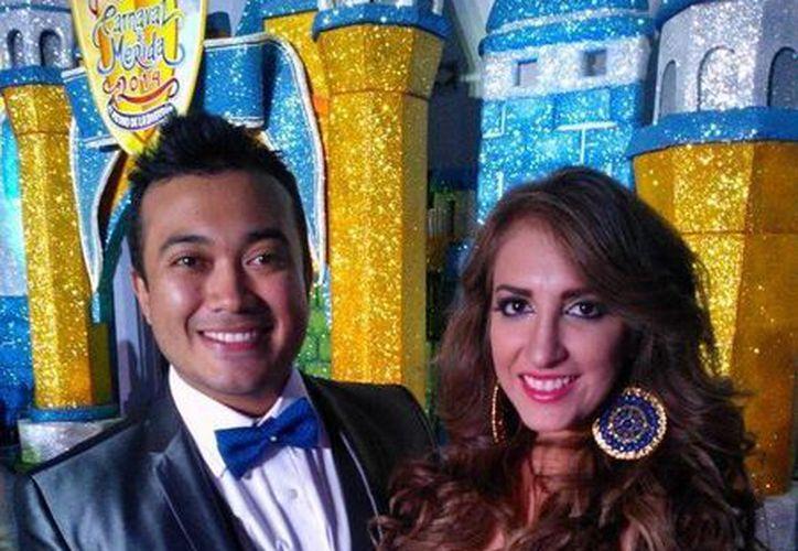 """Los reyes del Carnaval de Mérida 2014, Kenny Enrique Calderón Rodríguez """"Chayak"""" y Edith Natalia Villanueva Denis. (SIPSE)"""