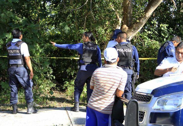 La Policía Municipal Preventiva fue al lugar acordonó el lugar donde se realizó el hallazgo. (Harold Alcocer/SIPSE)