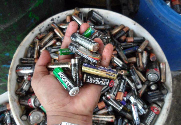 Las baterías se almacenan en el Centro de Acopio de Material Reciclable. (Julián Miranda/SIPSE)