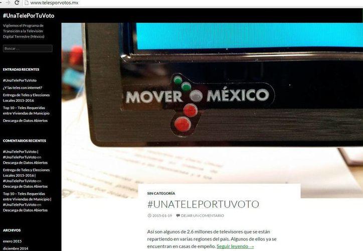 Captura de pantalla de la página web que abrió el Partido Acción Nacional para informar de la entrega de pantallas digitales. (www.telesporvotos.mx)