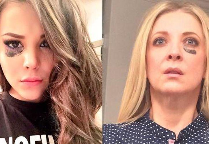La actriz y cantante Danna Paola (i) y la actriz Edith González aparecen con 'huellas de violencia' como parte de una campaña para erradicar ese mal. (Twitter)