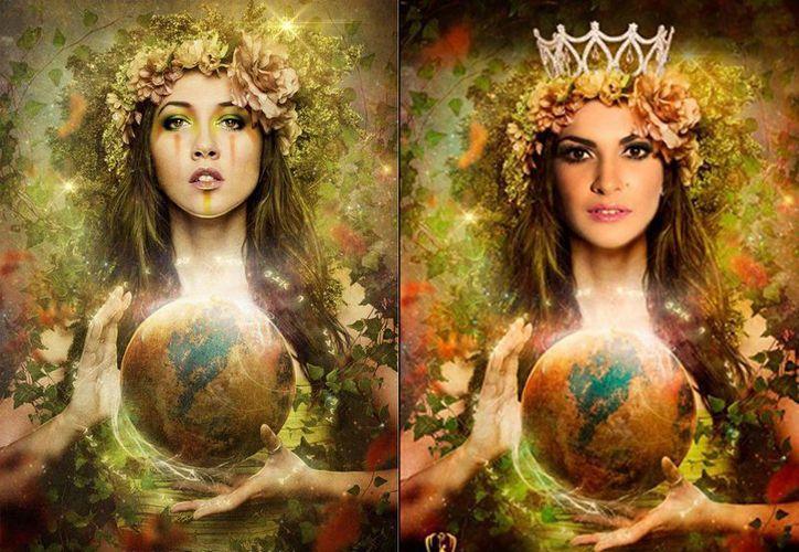 En la imagen un comparativo del diseño de Desirée Delgado (izq), y el diseño usado por Miss Earth Yucatán. (Fotos tomadas de facebook.com/DesireeDelgadoPhotography)