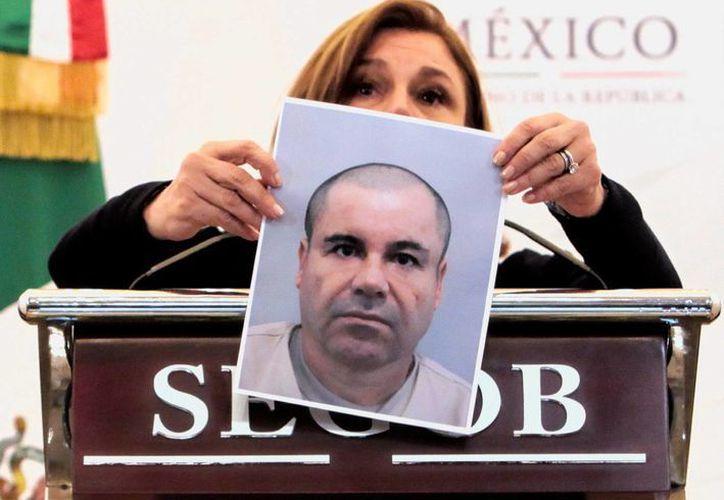 Vista de una fotografía del narcotraficante Joaquín 'El Chapo Guzmán' mostrada por la procuradora general de la República, Arely Gómez. (EFE/Archivo)