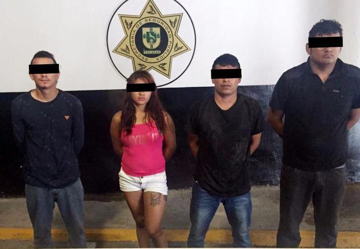Los cuatro detenidos el domingo pasado. (SIPSE)