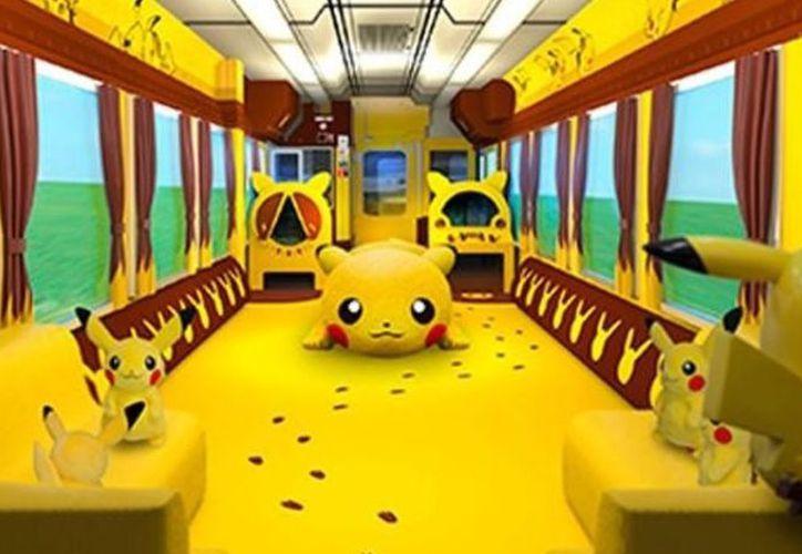 El tren cuenta con dos vagones completamente personalizados en los que se destacan los colores amarillo y marrón. (El Clarín)