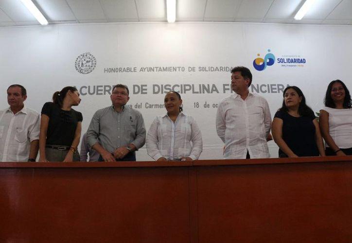 La presidenta de Solidaridad, Cristina Torres, anunció una serie de medidas para el cuidado de las finanzas municipales. (Adrián Barreto/SIPSE)