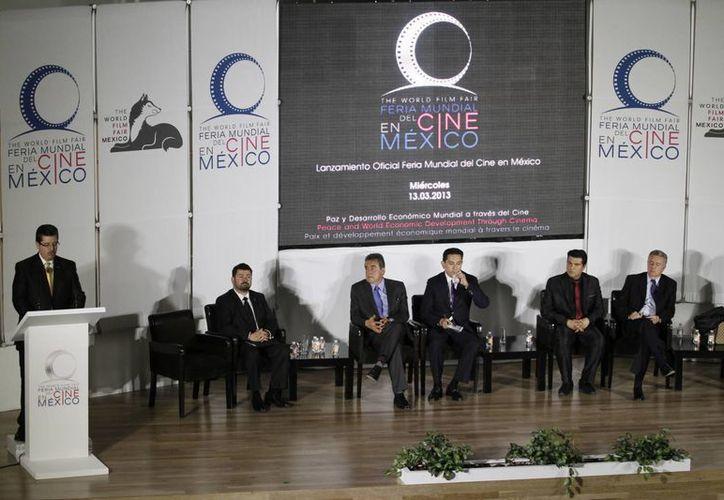Presentación de la Feria Mundial del Cine que se realizará en el Centro Banamex, el Palacio de Bellas Artes y el Paseo de la Reforma. (Notimex)