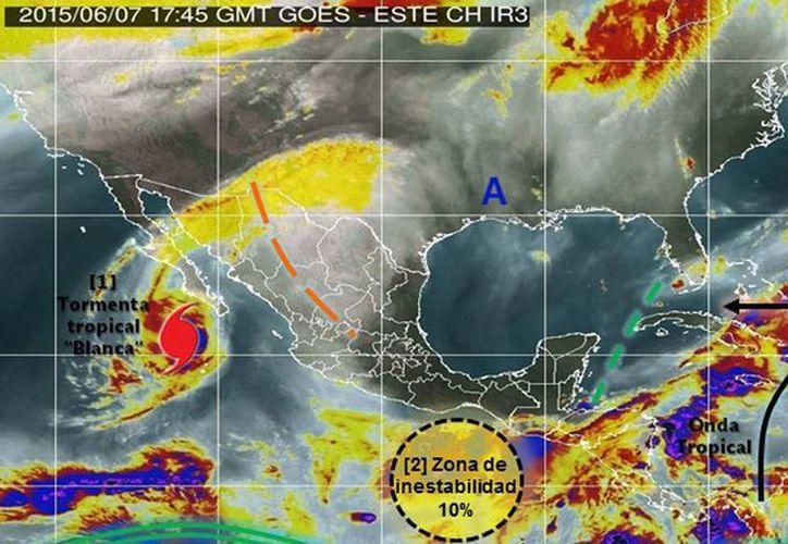 Habrá lluvias intensas en Sinaloa y Nayarit; muy fuertes en Jalisco, Colima, Chihuahua, Sonora y Durango; y fuertes en Baja California y Zacatecas. (smn.conagua.gob.mx)