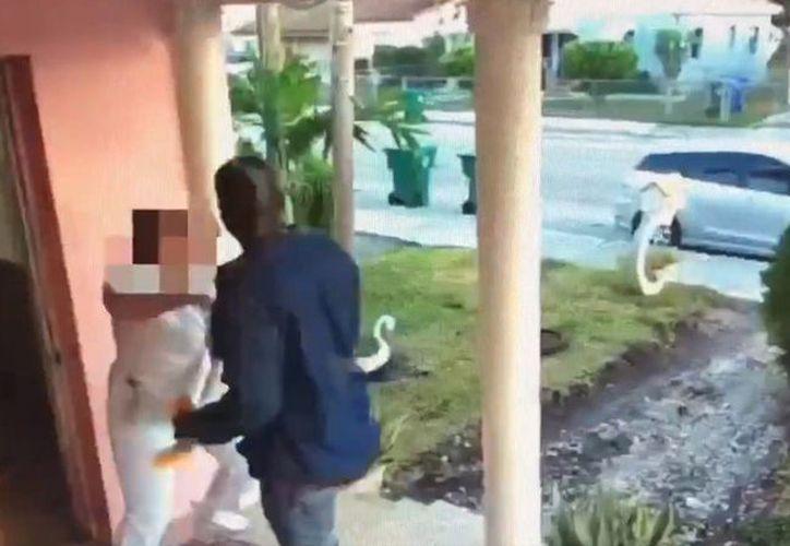Al no lograr su cometido el hombre escapó tranquilamente. (Foto: RT Noticias).