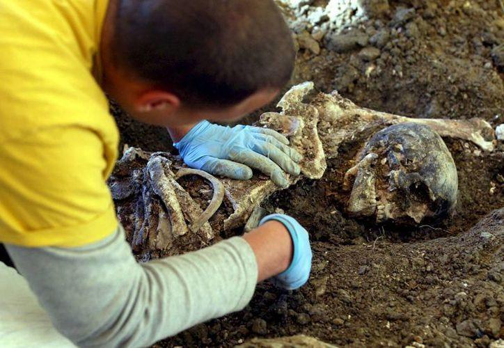 Forenses examinan los restos de un musulmán de una fosa común en Zeleni Jadar, cerca del este de Sebrenica, Bosnia. (Archivo/EFE)