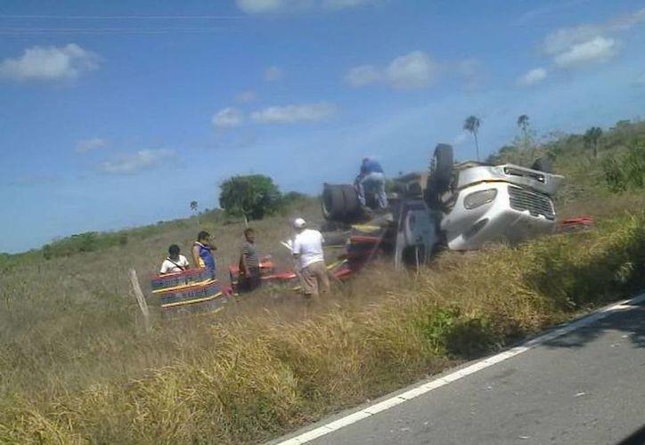 Un camión cargado con pollos de engorda volcó en carretera. (Milenio Novedades)