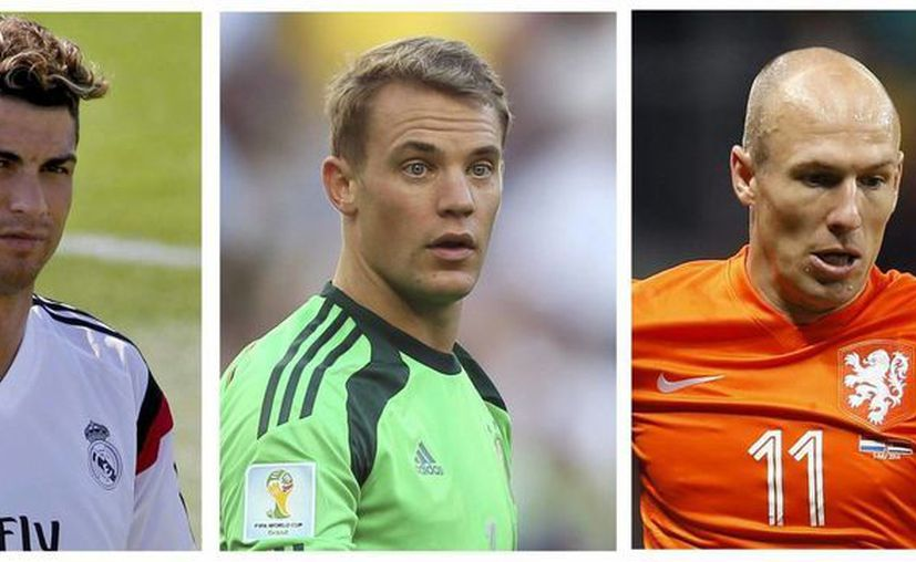 De izquierda a derecha: Cristiano Ronaldo, Manuel Neuer y Arjen Robben, candidatos a mejor jugador de Europa según la UEFA. (EFE)