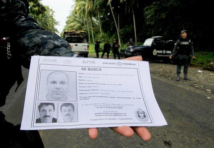 Tras la fuga de El Chapo, las autoridades han recibido 53 denuncias de personas que aseguraron que darían informes sobre el lugar en el que se esconde el líder del cártel de Sinaloa. Un agente sostiene un volante donde aparece el rostro de Joaquín Guzmán. (diariodf.mx)