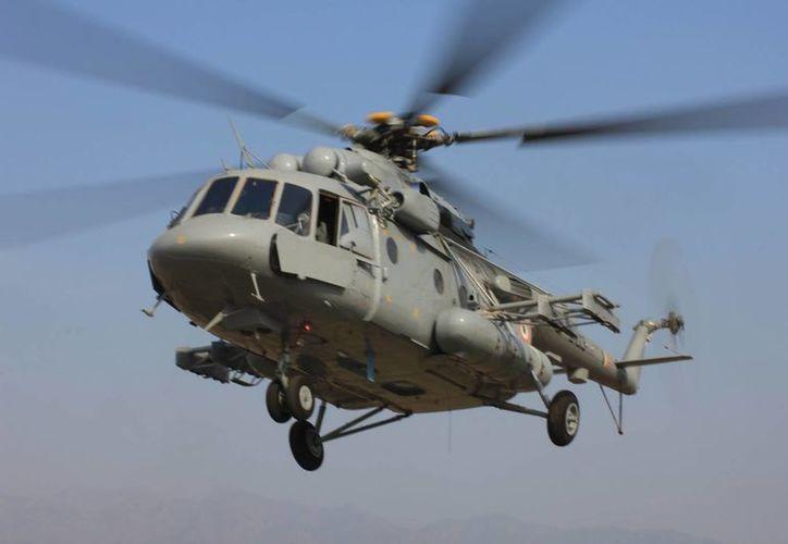 La aeronave militar perdida en Venezuela es un helicóptero ruso MI-17-V5, como el de la imagen. (defenceforumindia.com)