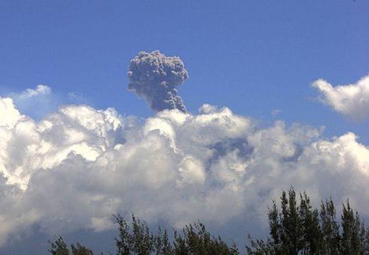 El volcán Popocatépetl registró a las 14:32 horas y a las 17:12 horas de este domingo fumarolas de más de dos mil metros de altura en dirección al noreste. (SkyAlertMx)