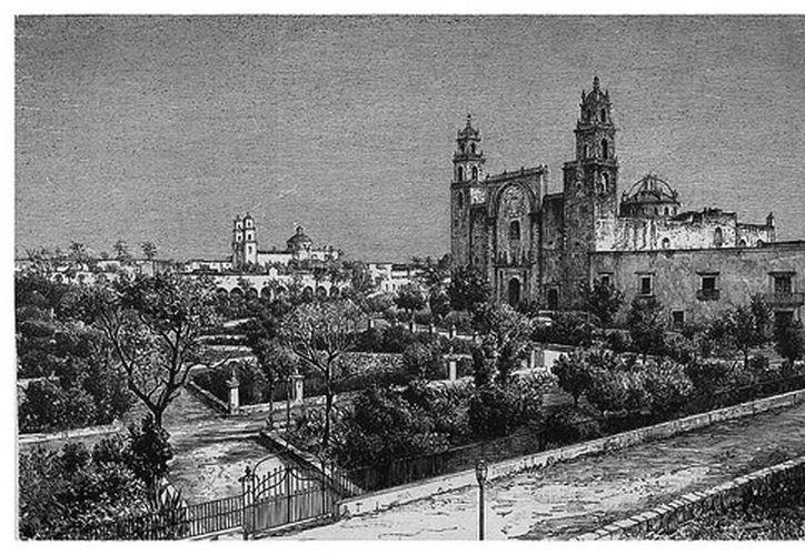 El obispo Carrillo y Ancona y el historiador Molina Solís se enfrascaron en una polémica histórica acerca de la antiguedad de la Diócesis de Yucatán. Imagen de un grabado de la catedral de Mérida en esa época. (Milenio Novedades)