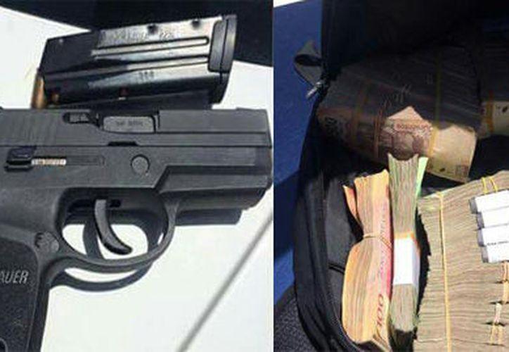 Al revisar un auto particular, federales dieron con el arma de fuego y el millón de pesos. (Foto: Redacción)