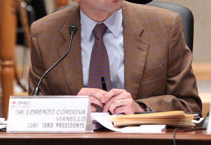 El consejero presidente del INE, Lorenzo Córdova, durante una sesión en el Instituto Nacional Electoral. (Archivo/Notimex)