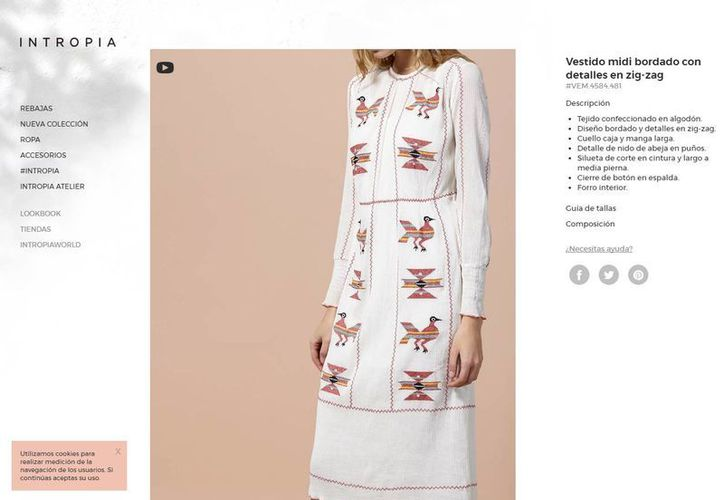 El vestido que muestra la marca Intropia, el cual tiene bordados con diseños similares a los realizados por una comunidad indígena de Oaxaca, es vendido a más de 4 mil pesos en su sitio web. (www.intropia.com)