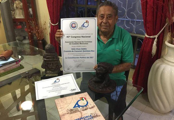 Velio Vivas Valdés fue reconocido por su trabajo como cronista de Cozumel. (Redacción/SIPSE).